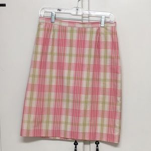 Casual Corner Annex Pink Plaid Straight Skirt